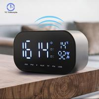 Electronic Alarm Clocks Bluetooth Speaker Support Temperature LCD Display FM Radio Clock Wireless Stereo Subwoofer Music Player