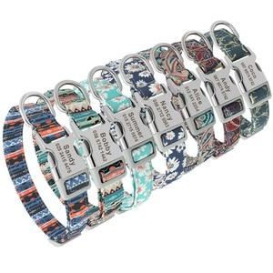 Image 3 - Collar personalizado de nailon para perro, grabado Floral, para cachorro, dibujo de cuello, nombre personalizado, para perros pequeños, medianos y grandes
