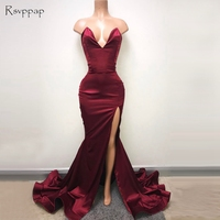 Simple Long Prom Dresses 2018 Sweetheart Sleeveless Sexy High Slit African Burgundy Cheap Mermaid Prom Dress
