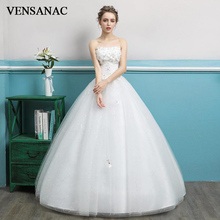 VENSANAC 2018 Crystal Flowers Strapless Ball Gown Lace Wedding Dresses Sequined Off The Shoulder Backless Bridal Gowns