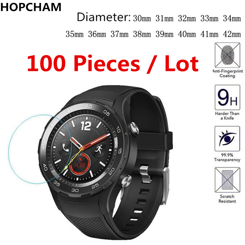 100pcs Universal Round Watch Tempered Glass Diameter 31mm 32mm 33mm 34mm 35mm 36mm Screen Protector Smart