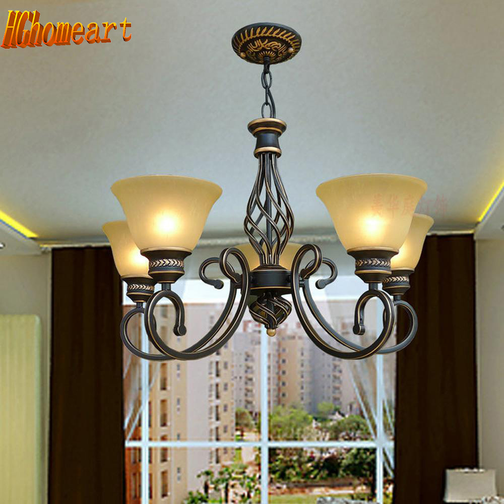 American Retro Style Iron 5 Head Vintage Chandelier Led Country Style Lighting 110V-220V Loft Lamp Iron Chandeliers China