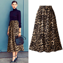 Womens Elastic Waist Plus Size A-line Skirts Hip Slim Long Loose Leopard Print Large OLV1010