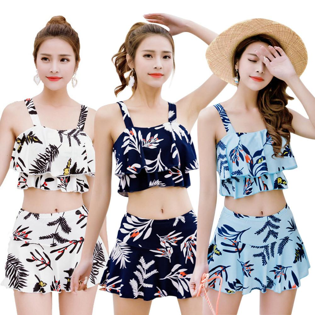 Two-piece Set 2018 Sexy Korean Style Fashionable Fresh Split Bikini Print Boxer Skirt Style Swimsuit New Style Fashionable Щипцы