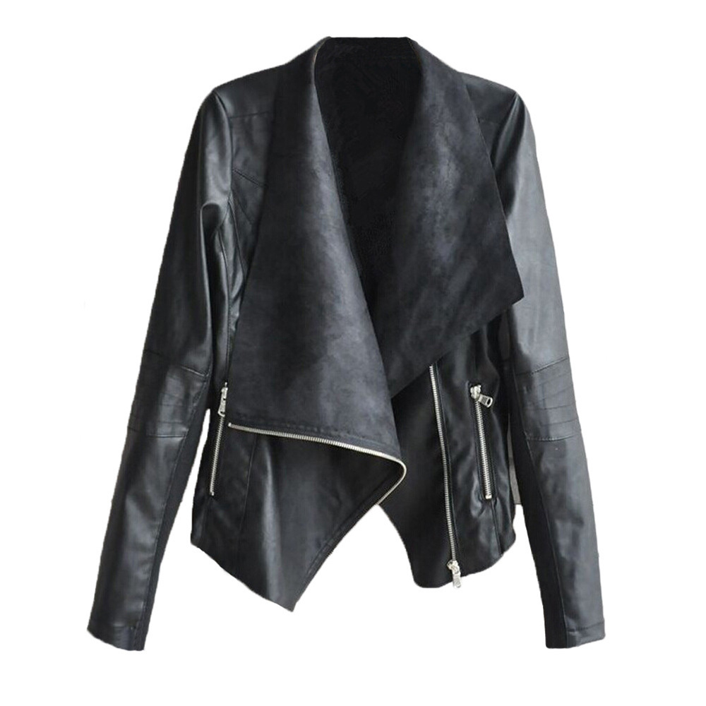 2019 New Spot Diagonal Zipper Irregular Large Lapel Long Sleeve Pu   Leather   Jacket Casual Jacket Womens   Leather   Jackets and Coats