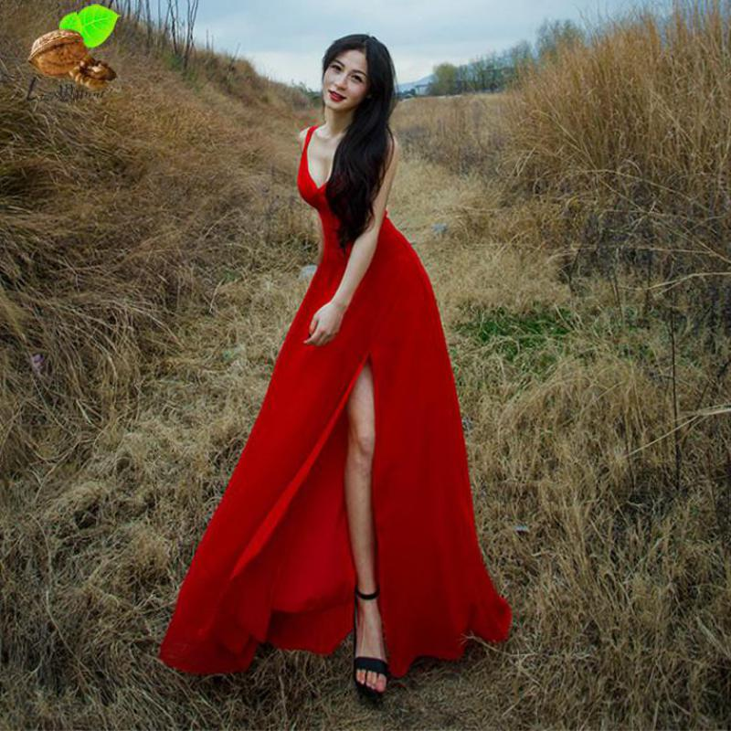 2018 New Women Bohemia Sexy & Club Casual Loose Sleeveless Strap V-neck Summer Dress Female Chiffon Sling Beach Long Red Dresses все цены