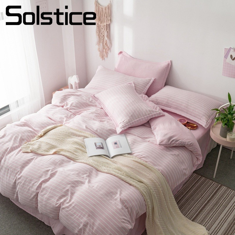 Solstice Home Textile Pillowcase Flat Bed Sheet DuvetQuilt Cover Pink Stripe Girl Adult Teen Woman Bedding Linens Set King Twin