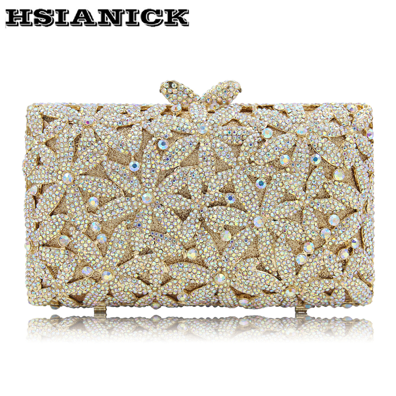 2018 Europe and United States new flower diamond evening party bag hollow handbag luxury high-grade crystal full diamond clutch europe tiger design hot selling high end luxury full diamond evening bag holding evening clutch handbag wedding party clutch bag