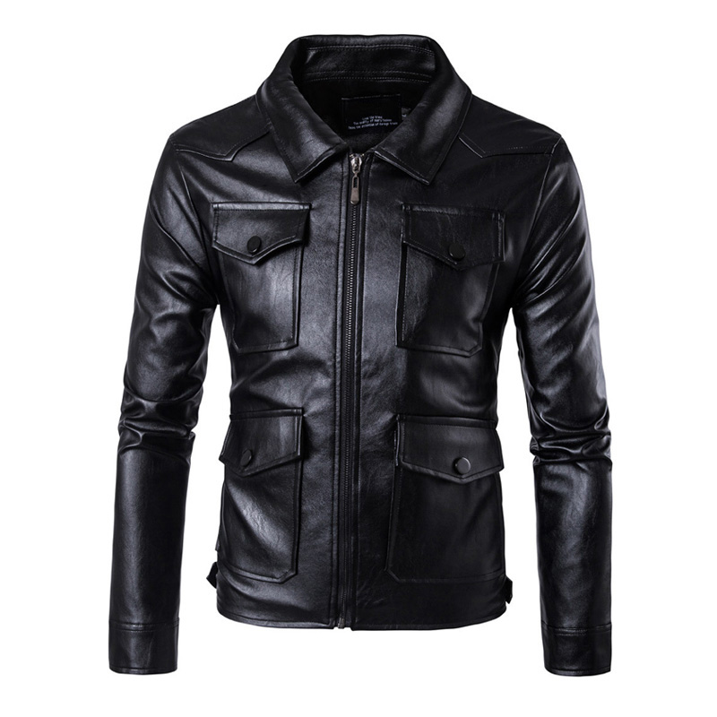 New Mens PU Leather Motorcycle Jackets Vintage Jackets Coats Men Multi Pockets Male Biker Punk Classic Moto Jacket Size M-5XL free shipping new vintage brand clothing mens cow leather jackets men genuine leather biker jacket motorcycle homme fitness