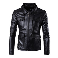 New Mens PU Leather Motorcycle Jackets Vintage Jackets Coats Men Multi Pockets Male Biker Punk Classic Moto Jacket Size M-5XL