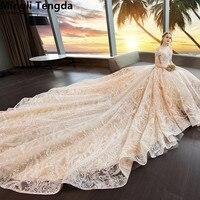 Mingli Tengda Champagne Wedding Dresses Full Lace Bride Dress Royal Train Wedding Dress Pearls Luxury New Bridal Gown Trouwjurk