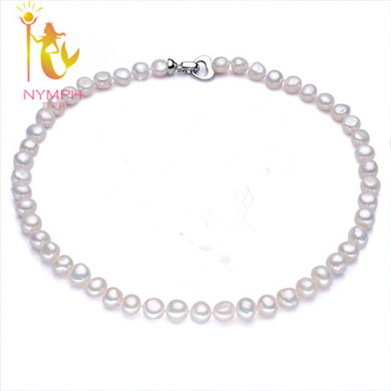 NYMPH Pearl Jewelry Baroque Pearl Necklace Genuine White Choker 9 10mm Pearl Fine Jewelry Wedding