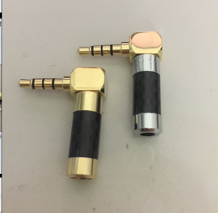 carbon fiber shell Gold Plated 90 Degree L Shape Right Angled 4 Pole <font><b>3.5mm</b></font> 1/8