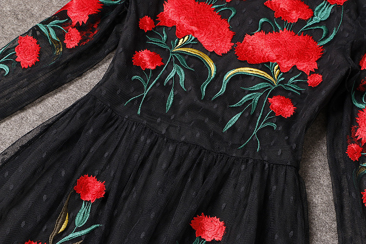 Long Sleeve Sexy Mesh Carnation Embroidery Slim Black Long Dress 6