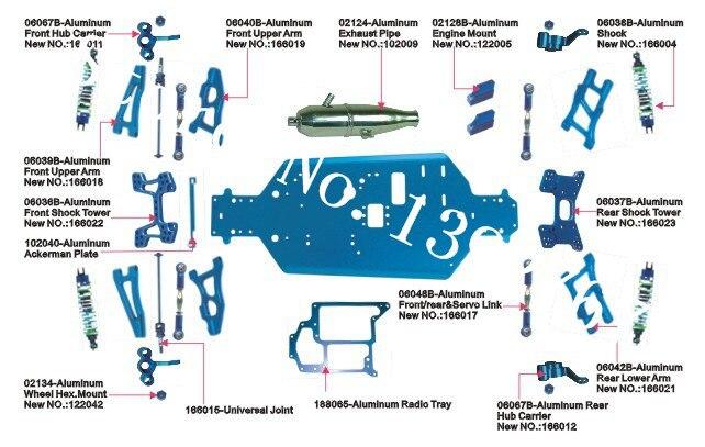 HSP Upgrade Parts Kit List For Backwash Aluminum Accessories CNC Nitro Power RC Car Baja 1/10 Hobby Model Buggy 94166