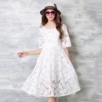 Vestidos de Renda branca Mulheres Verão 2018 Floral de Cintura Alta Vestidos de Festa O Pescoço Alargamento Mangas A Linha de Roupas Vestes da Mulher N618