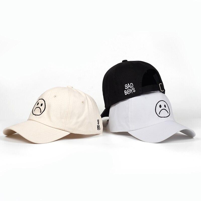 18d8ac5d90bde Sad Boys dad hat Adjustable cotton Harajuku Skateboard Hats crying face Baseball  cap cotton Black Hats Curve golf Caps wholesale-in Baseball Caps from Men s  ...