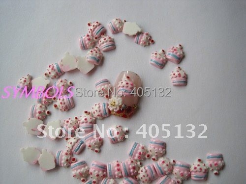 RC-77 200pcs/bag Cute Pink Strawberry Puff Cake Decoration Resin Decoration Nail Art Decorations