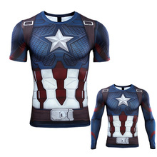 3D Captain America T-shirt Cosplay Avengers Endgame Costume 4 Steve Rogers T-shirts Sport Tight Tees