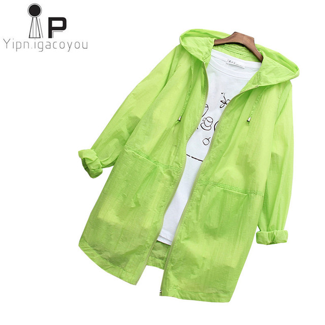 ae65c1f0d890 Thin Long Sunscreen Coat Women Summer Jacket Overcoat 2018 Ladies Hoodies  Loose White Harajuku Jacket Female Tops Korean Clothes