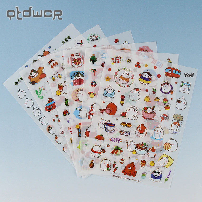 12PCS/2Pack Stationery Sticker Super Kawaii Rabbit Yuangun Pet Decorative Stickers Diary Sticker the Third Quarter