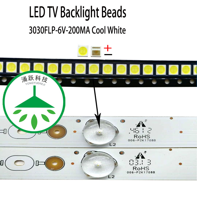 200pcs/lot New High Power  Cool White Lamp Beads 6v For Lcd Tv Repair Led Tv Backlight Strip Light-diode 3030 Smd