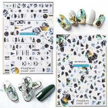 Newest WG-0205 marbling design 3d nail stickers Japan style decals template DIY decoration art