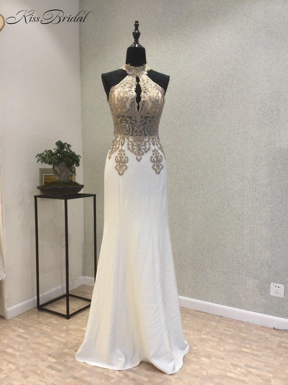 New Design Long Prom Dresses 2018 High Neck Sleeveless