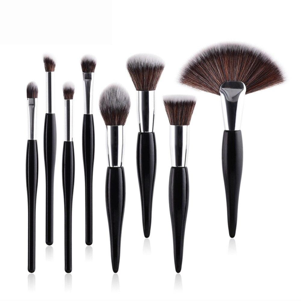 4/8Pcs Pro Face Eye Makeup Brush Set Slim Waist Foundtaion Eyelashes Eyeshadow Big Large Fan Brush Gold Sliver Make Up Brushes