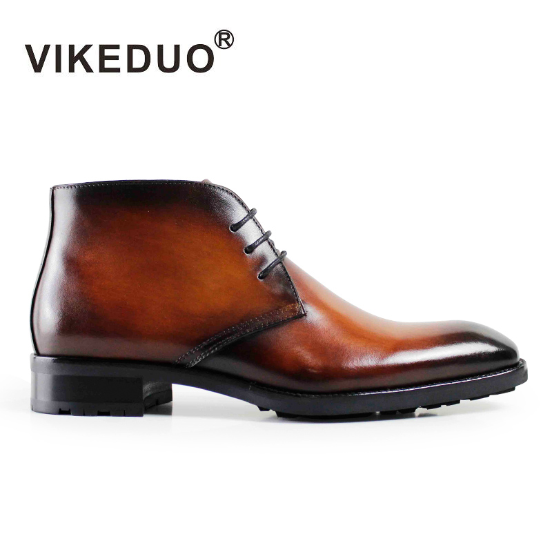 2018 Newest Vikeduo Vintage Handmade Brown Fashion Genuine Leather Hand Painting Ankle Boots For Man fur Sonw Winter Men Boots iarts aha072962 hand painted thick texture of knife painting trees oil painting red 60 x 40cm