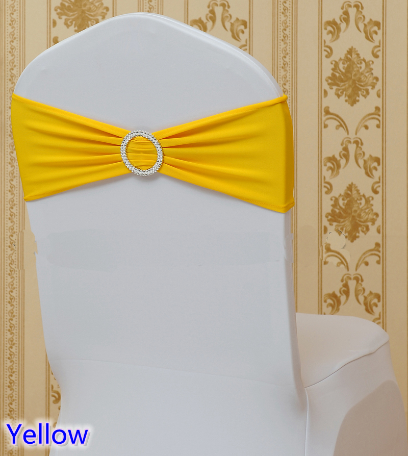 Yellow colour band sashes for banquet chairs with round buckles universal wedding sash fit for all chairs lycra bow tie on sale