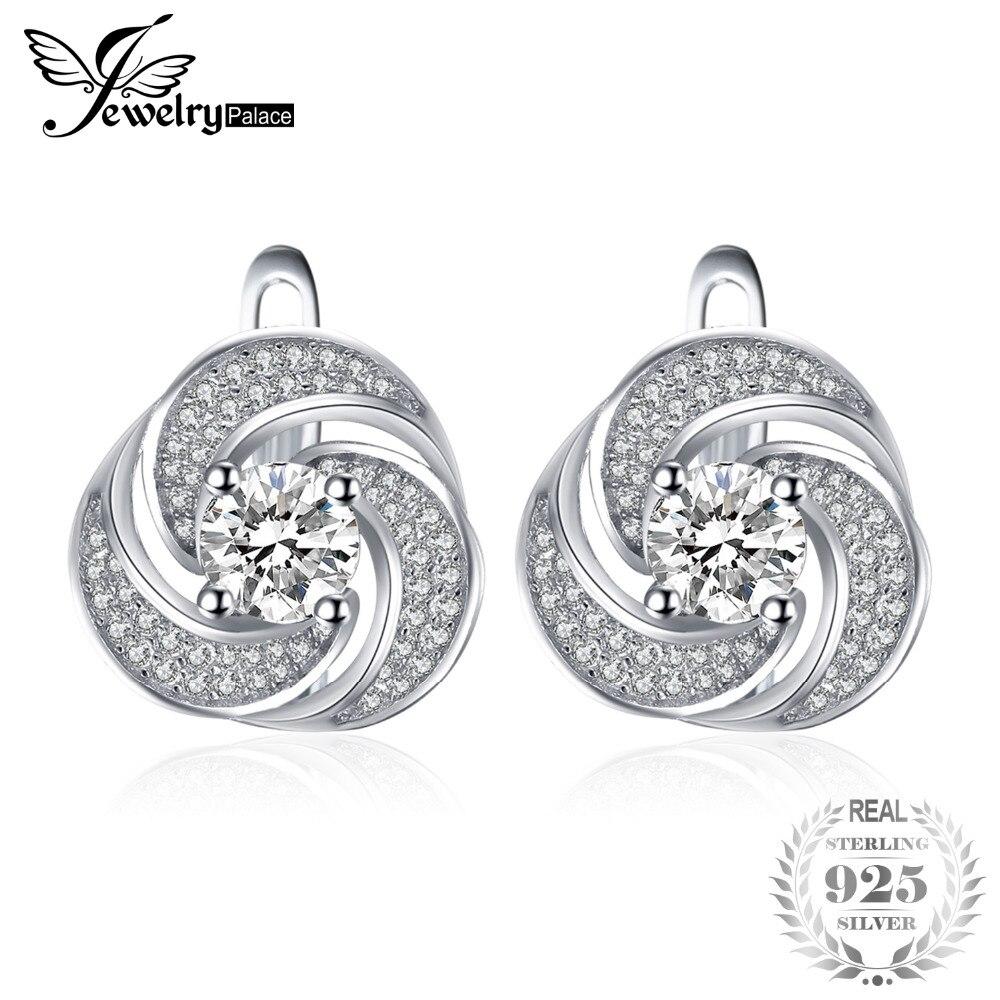 JewelryPalace luxury 2ct Cubic Zirconia Hoop Earrings Soild 925 Sterling Silver Jewelry Fashion Earrings For Women Birthday Gift