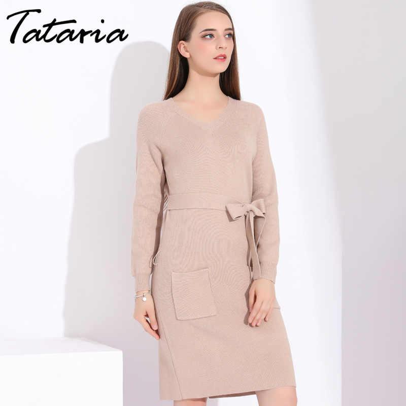76cd4e4573f ... Вязаное длинное платье для женщин свободный свитер платье зима осень  зима вязаный Свободный Длинный пуловер трикотажные ...