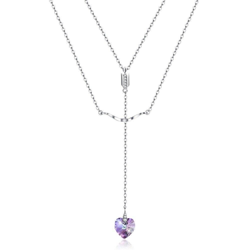 GE457 Elegant Heart Zirconia Stone  Pendent Necklace Engagement Wedding for womenGE457 Elegant Heart Zirconia Stone  Pendent Necklace Engagement Wedding for women
