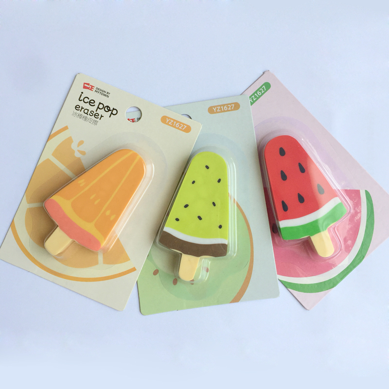 1PC Watermelon Orange Kiwi Fruit Ice Cream Rubber Erasers Correction School Office Supply Student Stationery Kid Gift