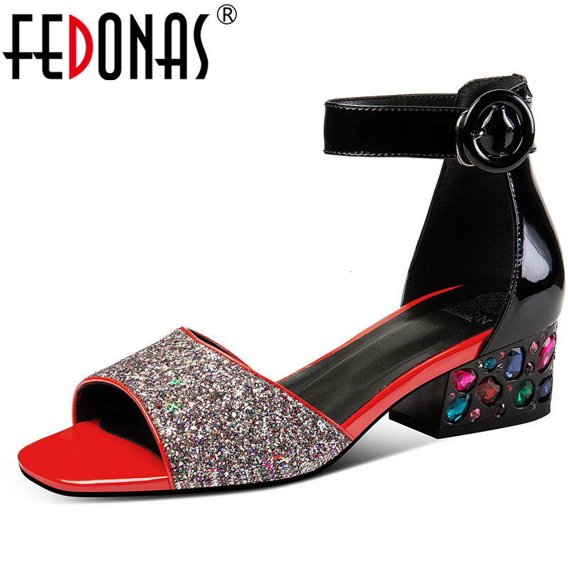 FEDONAS Fashion Women Sandals Genuine Leather Blingbling Cloth Pumps Summer Sandals Prom Wedding Shoes Woman Square High Heels