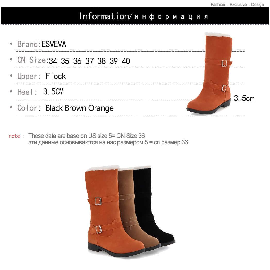 ESVEVA 2020 Kadın Çizmeler Orta buzağı Çizmeler Sivri Burun Kayma Kare Yüksek Topuklu Çizmeler Platformu rahat ayakkabılar Botları Boyutu 34-40