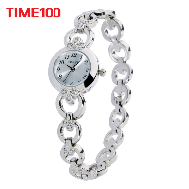 1d2ca17861b Time100 Moda Relógios Femininos Aço inoxidável Pulseira de Esqueleto  Discagem Pequeno de Diamante Relógios Casuais relogio