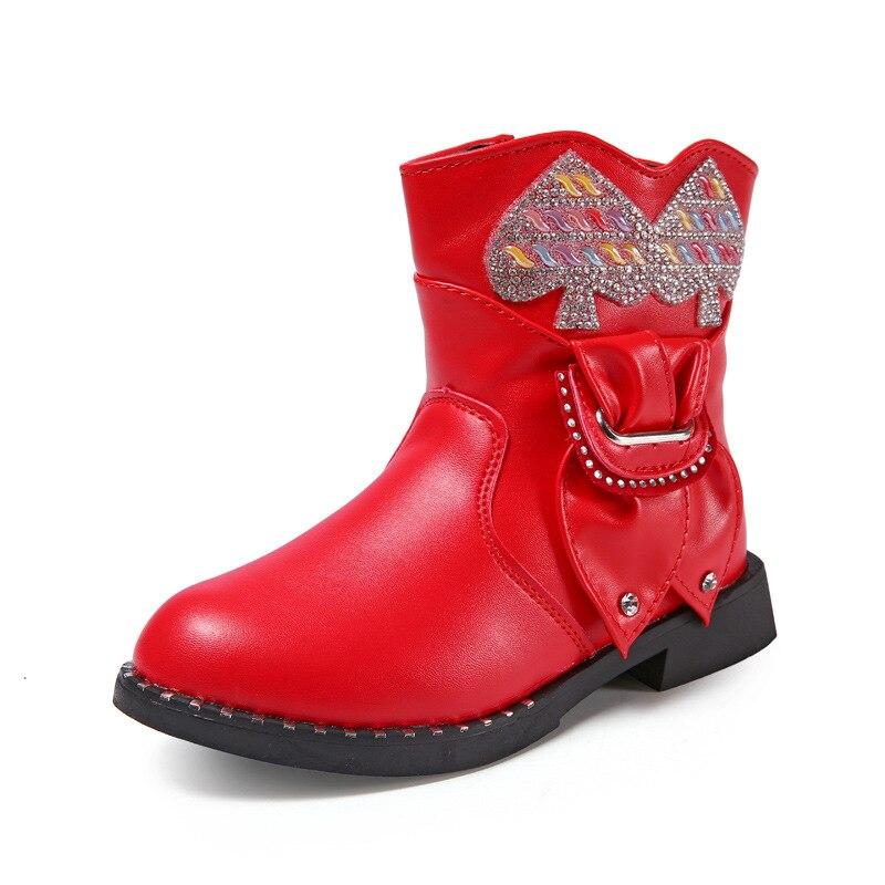 2017 Winter Children Dance Boots Girls Princess Pearls Short Boots Kids Plus Velvet Warm Snow Boots