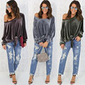 Sexy Loose Off Shoulder Velvet Hoodie Women Long Sleeve Bowknot Tied Up Bandage Jumper Top Blusas Camisetas Mujer