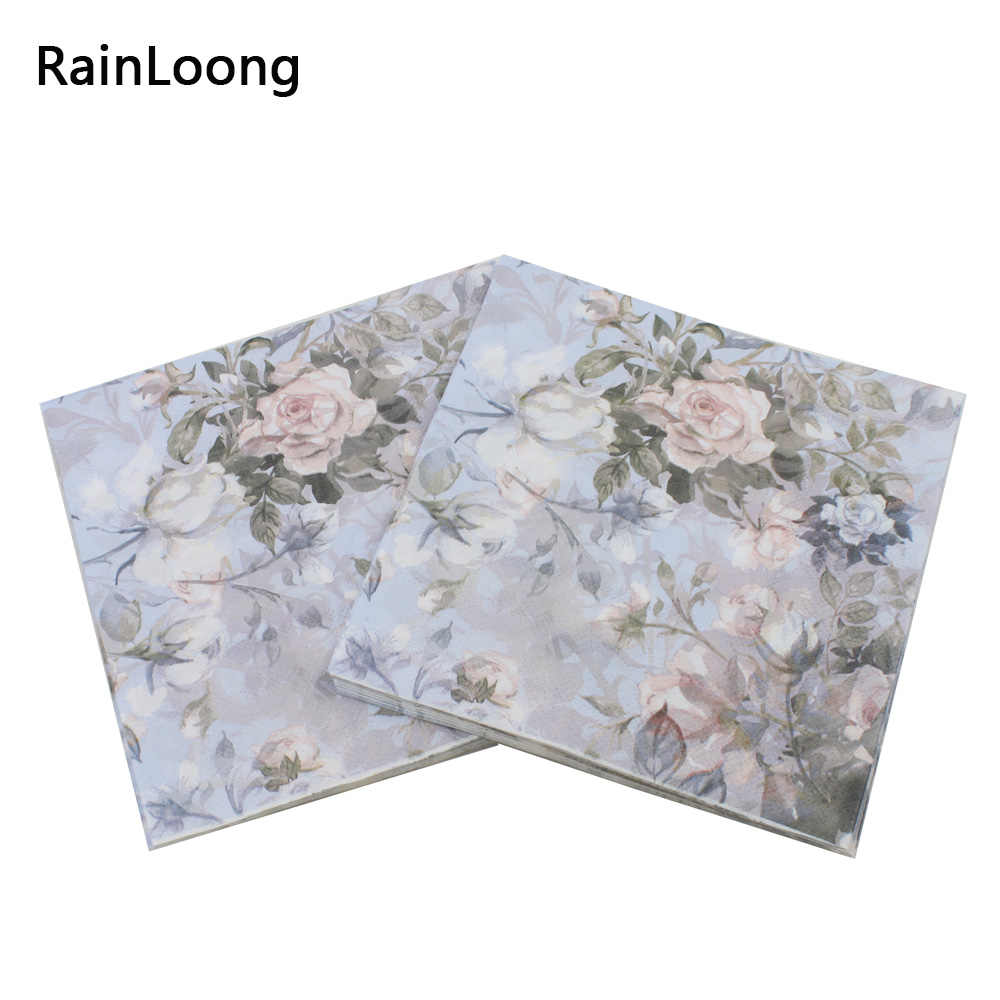 [RainLoong] Printed Feature Rose Paper Napkins For Event & Party Decoration Tissue Decoupage Servilleta 33cm*33cm 1 pack/lot