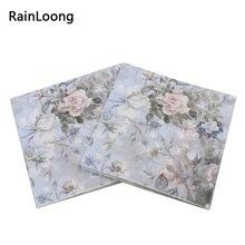 [RainLoong] 인쇄 된 기능 장미 종이 냅킨 이벤트 및 파티 장식 조직 Decoupage 33cm * 33cm 5 팩 (20 개/갑/팩)