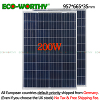 200W 18V Polycrystalline Solar power Panels system 100w*2pcs for 12v Battery off Grid System Solar System 12v solar panels 100W