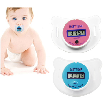 Baby Health Monitors Nipple Thermometer Baby Fever Thermometer LCD Digital Mouth Nipple Pacifier Thermometer 30%off