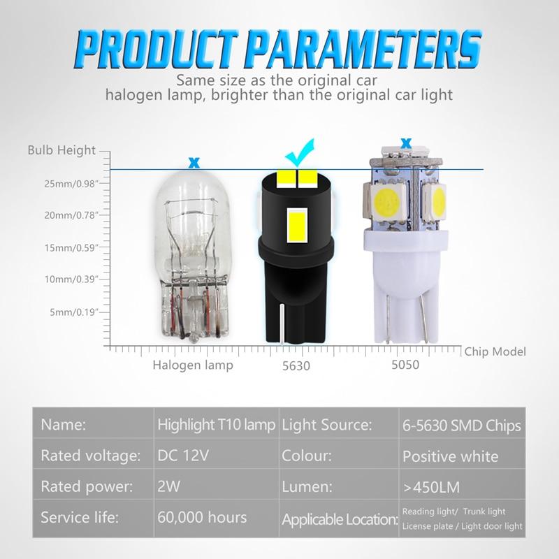 Katur 4Pcs Bright Hot Sale T10 W5W 168 Led 6 5730 5630 6Smd 6Led SMD Auto Car LED Tail Signal Light Lamp Bulb For White DC 12V