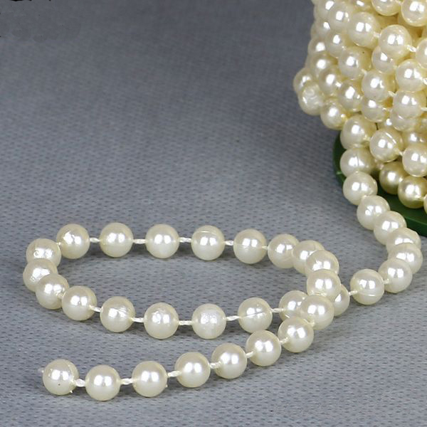 White Pearl Beads Strand Garland Acrylic Wedding Pearl: 8mm 20m/roll Pearl String Beads ABS Plastic Faux Pearl