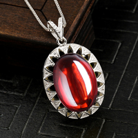 13*18mm NOT FAKE S925 Sterling Silver Australian Ruby Pedants Artisan Antique handicraft lithuania Antique