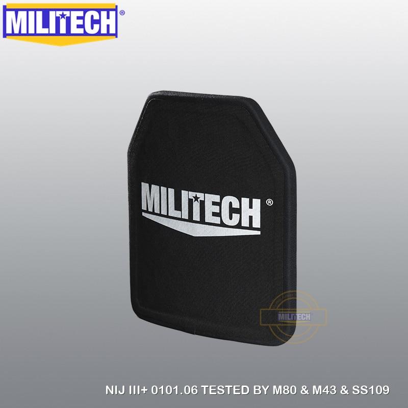 MILITECH 10 X 12 1 PC NIJ Level 3 M43 & SS109 & M80 Alumina & PE NIJ III+ Bulletproof Plate NIJ III+ Stand Alone Ballistic Panel