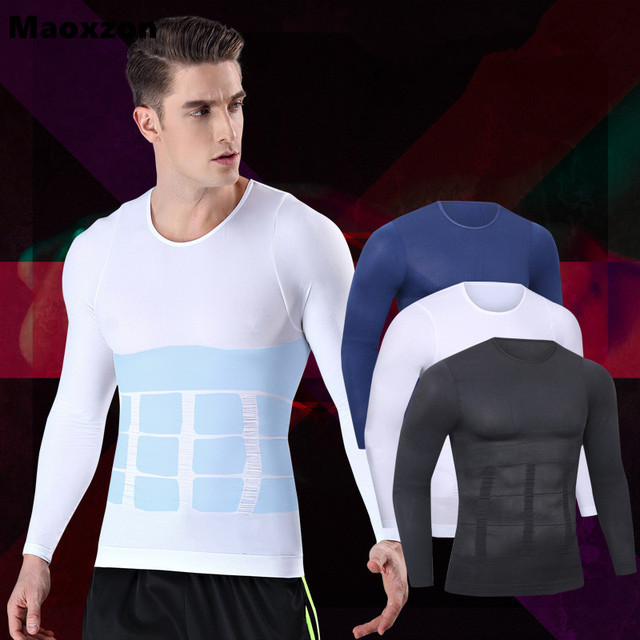 557d52b2b Maoxzon Mens Body Shapers Fitness Tops Long Sleeve Elastic Beauty Slim Abdomen  Tight Fitting Shirts Shaper Slimming Underwear XL