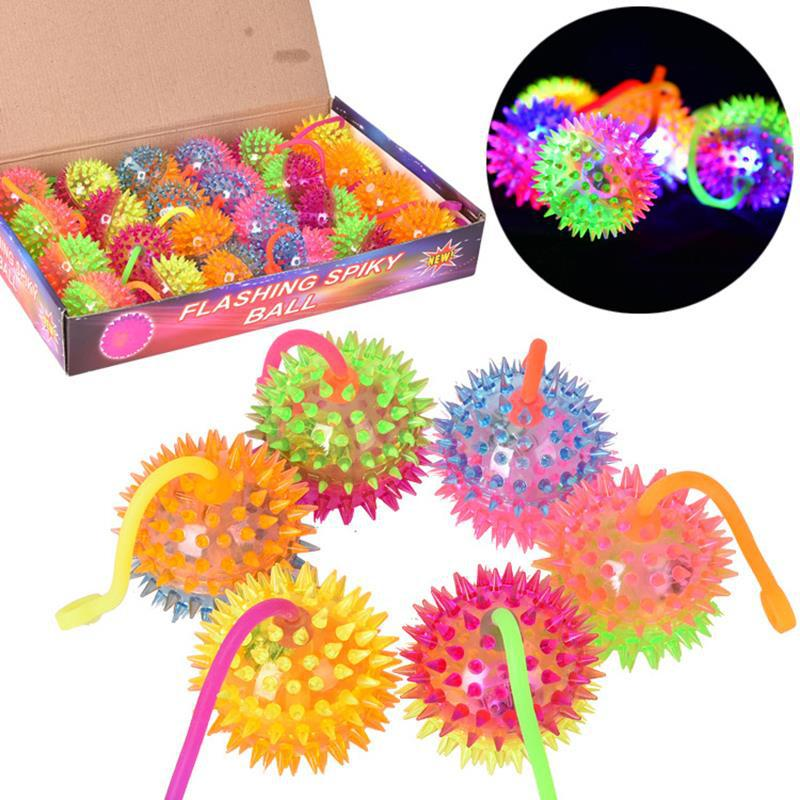 Double Color With Rope Can Massage Luminous Elastic Ball With Whistle Jumping Ball Spiked Balls Queezing Music Children's Toys